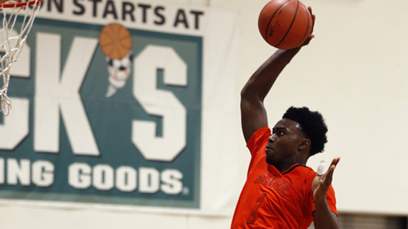Jaylen Brown of Wheeler (Marietta, Ga.) is a prime Mr. Basketball USA candidate after a spectacular summer. Photo: Vernon Bryant/adidas