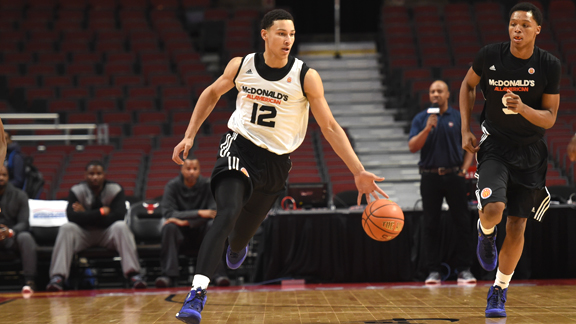 Ben Simmons' versatility is what separates him from every other player in high school basketball. The LSU commit (No. 12) led Montverde Academy (Fla.) to three consecutive mythical national titles. Photo: Courtesy of McDonald's