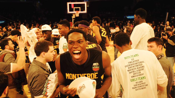 Montverde Academy (Montverde, Fla.) forward Noah Dickerson celebrates after the Eagles capture their third consecutive Dick's Nationals championship with a 70-61 win over Oak Hill Academy (Mouth of Wilson, Va.) Saturday afternoon at Madison Square Garden. The win wrapped up Montverde Academy's third consecutive mythical national title. Photo: @MVABasketball Twitter
