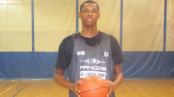 Freshman phenom Charles Bassey (St. Anthony, San Antonio, Texas) was an easy choice as the overall top performer and prospect we evaluated on the 2015 Pangos Frosh/Soph Camp tour. Photo: Ronnie Flores
