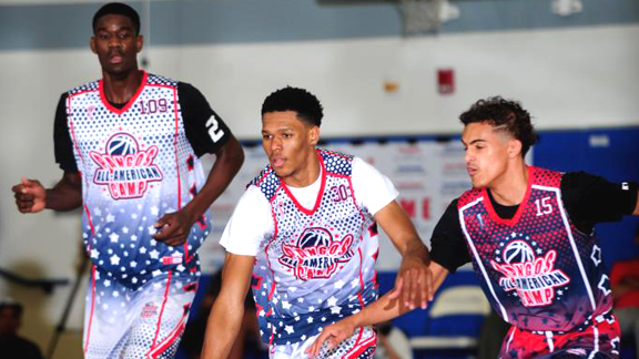 Trevon Duval (middle) was the most physically dominant point guard at the 2016 Pangos All-American Camp. He was able to change directions and finish with regularity and hit just enough jumpers to keep defenders off-balance. Photo: Scott Kurtz