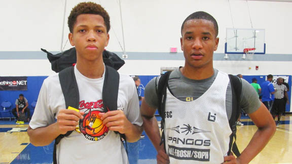 Las Vegas Knicks teammates Nick Blake (left) of Durango (Las Vegas) and Sedrick Hammonds of Clark (Las Vegas) were both selected in the Cream of the Crop Top 30 Game. Blake was one of the camp's top shooters and Hammonds was one of the top athletes and made spectacular defensive plays in the Top 30 Game. Photo: Ronnie Flores