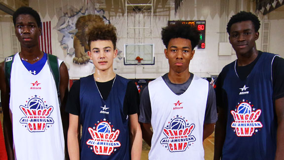 Pape Nomar Cisse, Devin Askew, Malik Thomas and Obinna Anyanwu (L-R) were four of the top standouts at the 2017 Pangos Jr. All-American Camp. Cisse was the overall camp MOP while Askew, Thomas and Anyanwu were named Best of the Best All-Star Game MVPs. Anyanwu scored 21 points for the winning Navy club and Askew added 14 points, while Thomas scored a game-high 23 points for the White club. Photo: Nick Koza